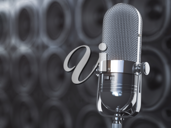 Microphone on black background from  professional loudspeakers and subwoofers. Audio and music concept. 3d illustration