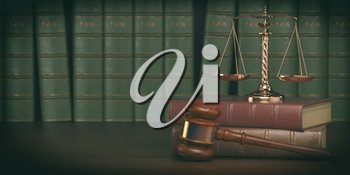 Gavel and scale on the background of vintage lawyer books. Concept of law and justice. 3d illustration