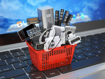 E-commerce online shopping or delivery concept. Home appliance in shopping cart on the laptop keyboard. 3d illustration