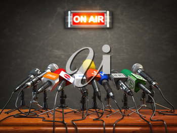 Press conference or interview on air.  Microphones of different mass media, radio, tv and press prepared for conference meeting. 3d illustration