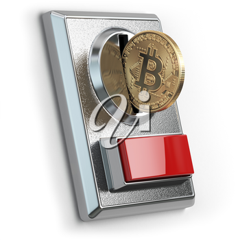 Pay by bitcoin concept. BItcoin coin and coin acceptor isolated on white. 3d illustration