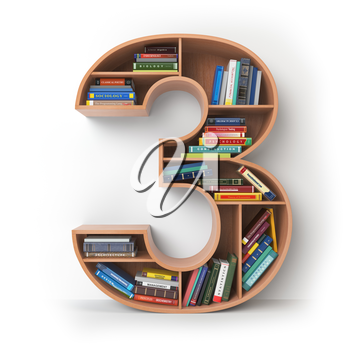 Number 3 three. Alphabet in the form of shelves with books isolated on white. 3d illustration