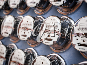Electric meters in a row measuring power use. Electricity consumption concept. 3d illustration