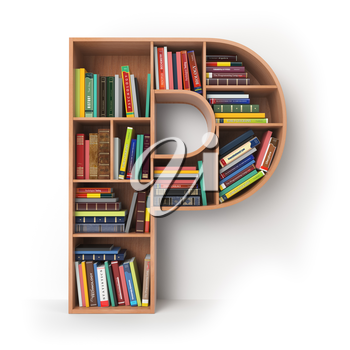 Letter P. Alphabet in the form of shelves with books isolated on white. 3d illustration