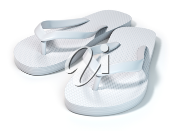 White flip flops isolated on white background. 3d illustration