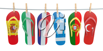 Hanging flip flops in colors of  different mediterranean european countries Spain, Italy, France, Portugal, Greece and Turkey. Travel and tourism concept. 3d illustration