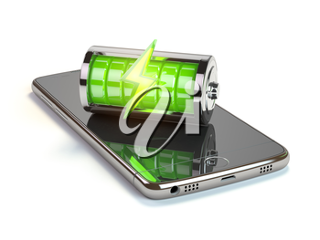 Smartphone charging  application concept. Mobile phone and green battery charge indicator. 3d illustration