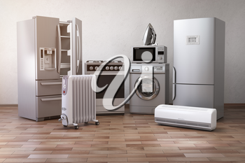 Home appliancess. Set of household kitchen technics in the new appartments or kitchen. E-commerce online internet store nad delivering of appliances concept.