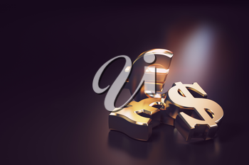 Golden euro, dollar and pound signs. Financial banking currency exchange concept background. 3d illustration