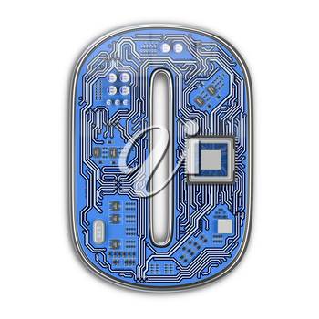 Letter O.  Alphabet in circuit board style. Digital hi-tech letter isolated on white. 3d illustration