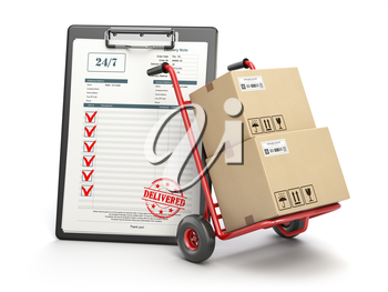 Delivery service concept. Hand truck with parcel carton cardboard boxes and  clipboard with receipt form isolated on white. 3d illustration