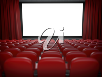 Movie theater with cinema blank screen and rows of red seats. 3d illustration