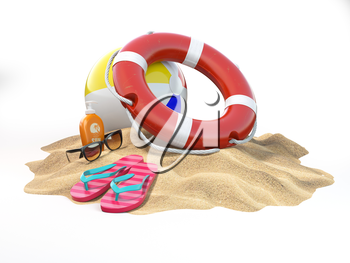 Small island with lifebelt ball and flipflops. Summer trip vacation security concept. 3d illustration