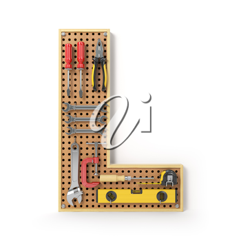 Letter L. Alphabet from the tools on the metal pegboard isolated on white.  3d illustration