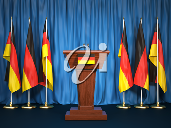 Podium speaker tribune with Germany flags. Briefing of president or chancellor. Politics concept. 3d illustration