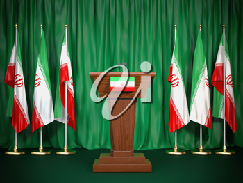 Podium speaker tribune with Iran flags. Briefing of president of Iran. Politics concept. 3d illustration