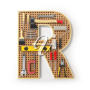 Letter R. Alphabet from the tools on the metal pegboard isolated on white.  3d illustration