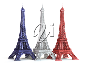 Three Eiffel Towerin colors of flag of France isolated on a white background. 3d illustration