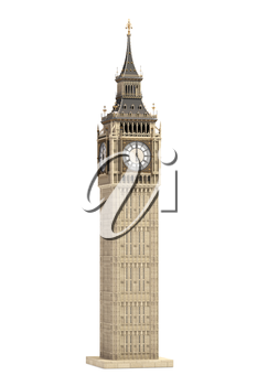 Big Ben Tower the architectural symbol of London, England and Great Britain Isolated on white background. 3d illustration