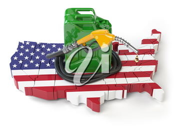 Gasoline and petrol consumption and production in USA. Map of United States with jerrycan and gas pump nozzle. 3d illustration