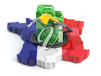 Gasoline and petrol consumption and production in France. Map of France with jerrycan and gas pump nozzle. 3d illustration
