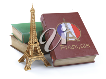 Learn and studying French concept. Book with  French flag and Eiffel tower isolated on white. 3d Illustration