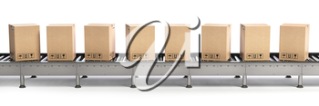 Delivery, packaging and e-commerce concept. Conveyor belt and cadrboard boxes isolated on white. 3d illustration