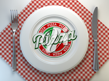 Pizza text on the plate in italian restaurant. Top view. 3d illustration