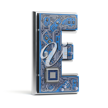 Letter E, Alphabet in circuit board style. Digital hi-tech letter isolated on white. 3d illustration