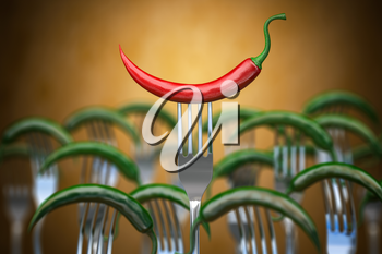 Red hot chili pepper stuck on the fork around of differents forks, Competition, unique , individuality and smile concept. 3d illustration