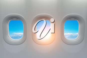Airplane windows. Travel and tourism fliight concept. 3d illustration