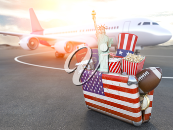 Flight to New York, USA.Vintage suiitcase with symbols of United States of America, Trip, travel and tourism  to USA concept. 3d illustration