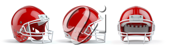 Set of red  american football helmets isolated on white background. 3d illustration