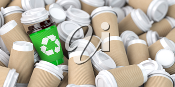 Recycling  sign on one of the heap of many empty paper coffee cups. 3d illustration
