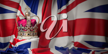 Royal golden crown with jewels on british  flag. Symbols of UK United Kingdom. 3d illustration