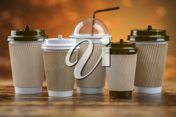 Set of coffee paper cups.Mockup template for cafe shop. Differnt types of coffee. 3d illustration