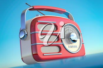 Red vintage retro style radio receiver on the sky background. 3d illustration
