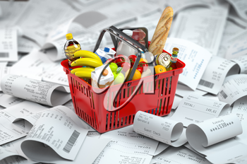Shopping basket with foods on the pile of receipt.   Consumerism and grocery expenses budget. 3d illustration