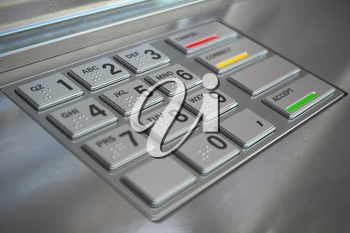 ATM cash machine keypad background. 3d illustration