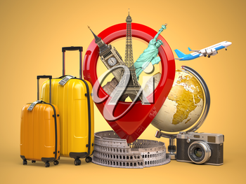 Tourism and travel concept. Pin pointer with famous tourist attractions, camera, suitcases and airplane. Eiffel tower, big ben, statue of liberty and coliseum. 3d illustration