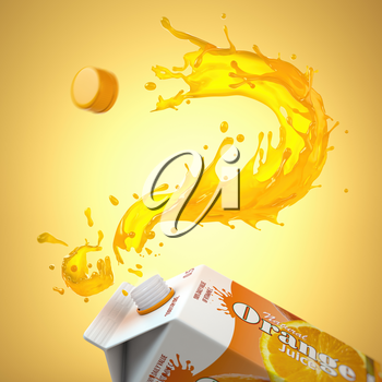 Orange jjuice splash in form of question mark and packaging of tetra pack or carton box. FAQ on the choice of orange juice and its properties concept. 3d illustration