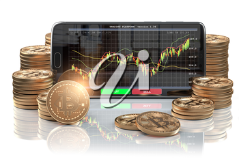 Smartphone with Bitcoin coins. Bitcoin cryptocurrency exchange mobile trading platform. 3d illustration