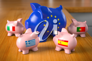 European crisis countries concept. Piggy bank in colors of EU european union flag as symbol of european budget with piggy banks of Spain, Portugal, Italy and Greece 3d illustration