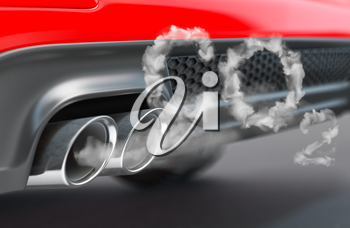 Car pipe with co2 carbon dioxide emissions. Combustion fumes coming out of car exhaust pipe. 3d illustration