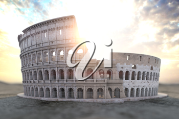 Coliseum Colosseum at sunrise. Symbol of Rome and Italy, 3d illustration