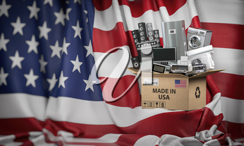 Household appliances made in USA. Home kitchen technics in a cardboard box producted and delivered from United States. 3d illustration