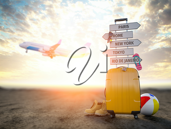 Yellow suitcase and signpost with travel destination, airplane.Tourism and  travel concept background. 3d illustration