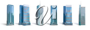 Different skyscraper buildings isolated on white.  Set number 2. 3d illustration