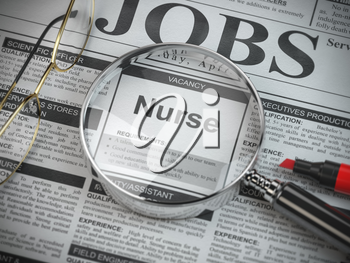 Nurse vacancy in the ad of job search newspaper with loupe. 3d illustration