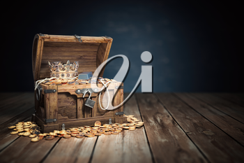 Open treasure chest filled with golden coins, gold  and jewelry. 3d illustration